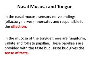 Nasal Mucosa and Tongue