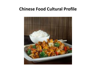 Chinese Food Cultural Profile
