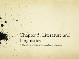 Chapter 5: Literature and Linguistics