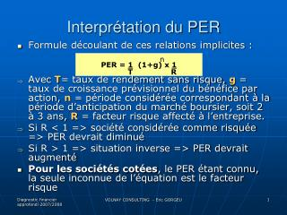 Interprétation du PER