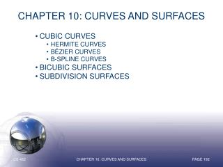 Chapter 10: Curves and Surfaces