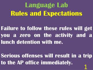 Language Lab Rules and Expectations