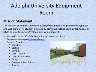 Adelphi University Equipment Room