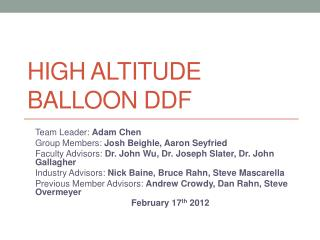 High altitude balloon DDF