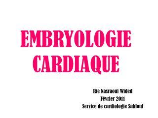 EMBRYOLOGIE CARDIAQUE