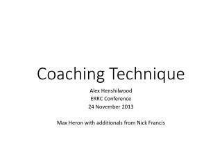 Coaching Technique