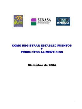 COMO REGISTRAR ESTABLECIMIENTOS Y PRODUCTOS ALIMENTICIOS Diciembre de 2004