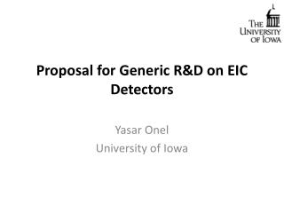 Proposal for Generic R&D on EIC Detectors