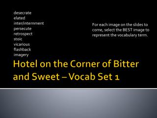 Hotel on the Corner of Bitter and Sweet – Vocab Set 1