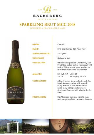 SPARKLING BRUT MCC 2008 BACKSBERG > BLACK LABEL RANGE