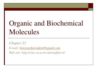 Organic and Biochemical Molecules