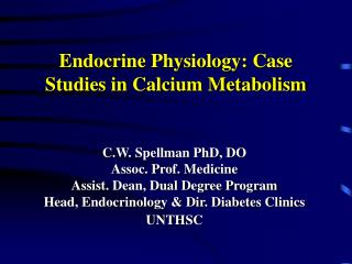Endocrine Physiology: Case Studies in Calcium Metabolism