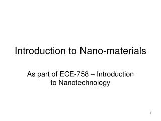Introduction to Nano-materials