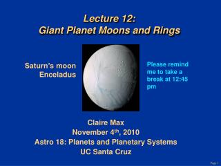 Lecture 12: Giant Planet Moons and Rings