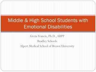 Middle & High School Students with Emotional Disabilities