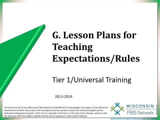 G. Lesson Plans for Teaching Expectations/Rules