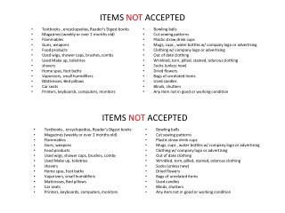 ITEMS  NOT  ACCEPTED