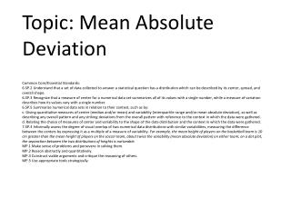 Topic: Mean Absolute Deviation
