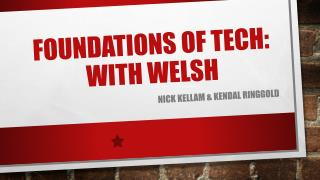 Foundations of  Tech: WITH wELSH