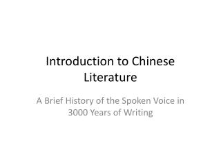 Introduction to Chinese Literature