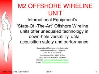 M2 OFFSHORE WIRELINE UNIT