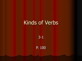 Kinds of Verbs