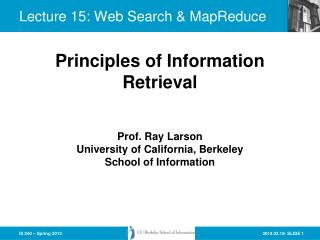 Lecture 15: Web  Search &  MapReduce