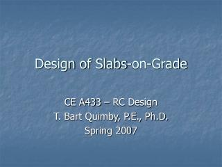 Design of Slabs-on-Grade