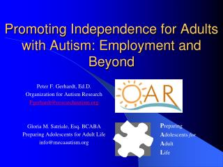 Promoting Independence for Adults with Autism: Employment and Beyond