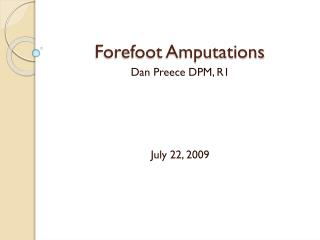 Forefoot Amputations