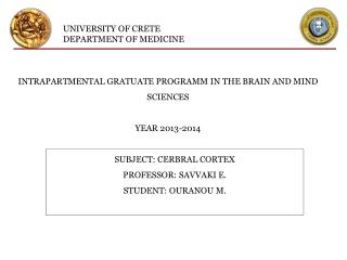 UNIVERSITY OF CRETE DEPARTMENT OF MEDICINE