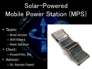 Solar-Powered Mobile Power Station (MPS)