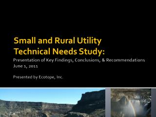 Small and Rural Utility Technical Needs Study: