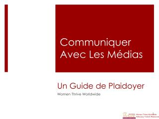 Un Guide de Plaidoyer