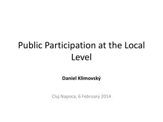 Public Participation at the Local Level