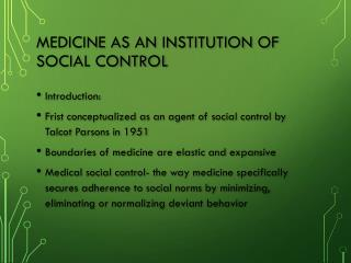Medicine as an institution of social control