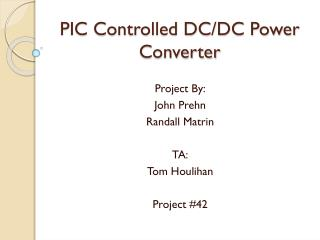PIC Controlled DC/DC Power Converter
