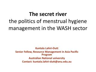 The secret river  the politics of menstrual hygiene management in the WASH sector