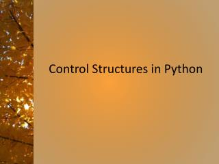 Control Structures in Python