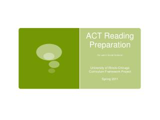 ACT Reading Preparation (for use in  Social Science)