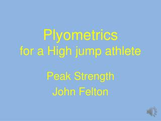 Plyometrics for a High jump athlete