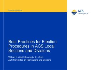 Best Practices for Election Procedures in ACS Local Sections and Divisions