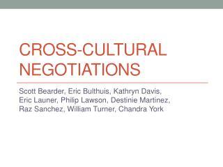 Cross-Cultural Negotiations