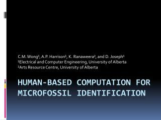 Human-Based Computation for Microfossil Identification