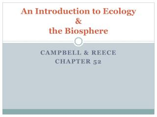 An Introduction to Ecology & the Biosphere