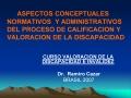 ASPECTOS CONCEPTUALES NORMATIVOS  Y ADMINISTRATIVOS    DEL PROCESO DE CALIFICACION Y VALORACION DE LA DISCAPACIDAD