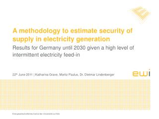 A  methodology to estimate security of supply  in  electricity generation