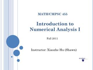 Introduction to  Numerical Analysis I
