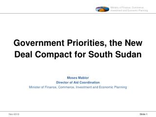 Government Priorities, the New Deal Compact for South Sudan