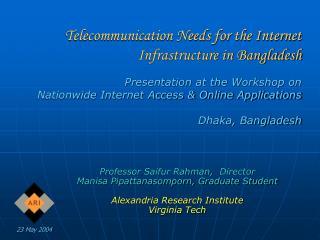 Professor Saifur Rahman, Director Manisa Pipattanasomporn, Graduate Student Alexandria Research Institute Virginia Tech